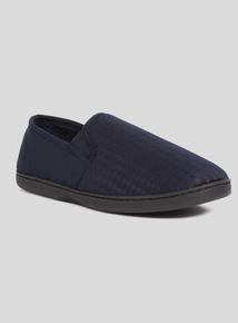 Navy Blue Checked Full Slippers