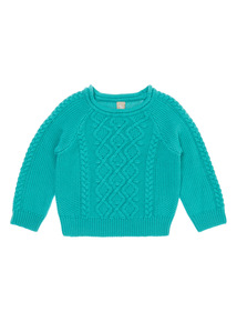 Girls Blue Cable Jumper (9 months-6 years)