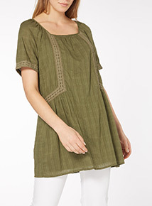 Khaki Crinkle Tunic Dress