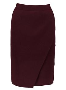 Burgundy Knitted Wrap-Effect Skirt