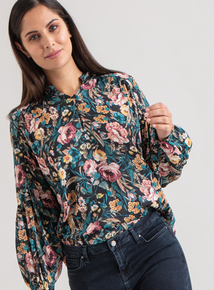 Premium Multicoloured Button Neck Floral Blouse