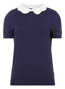 Scallop Collar 2 in 1 Short Sleeve Jumper