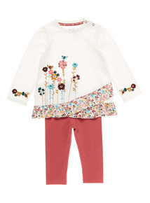 Cream Two Pack Floral Jersey and Legging Set (0-24 months)