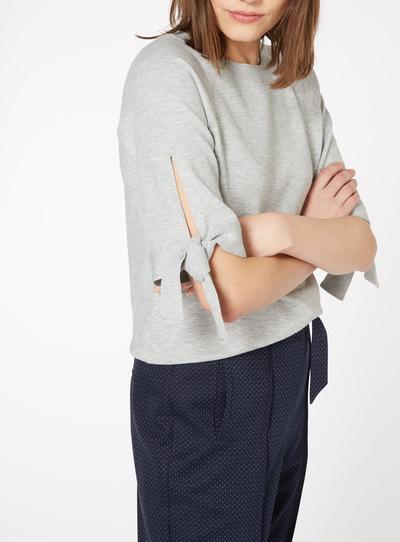 Grey Knot Sleeve T-Shirt
