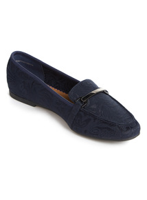 Navy Embossed Buckle Loafer