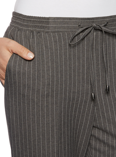Womens Grey Pinstripe Joggers