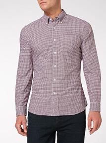 Dark Red Gingham Check Shirt