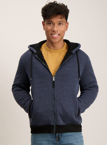 Navy Textured Fleece Lined Hoodie