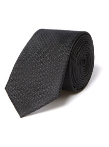 Black Slim Textured Tie