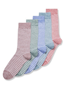 5 Pack Multicoloured Stay Fresh Stripe Socks