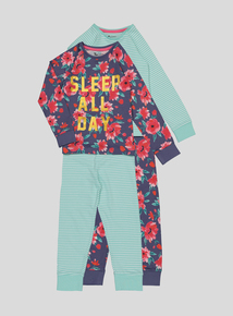 Multicoloured Sleep All Day Pyjamas 2 Pack (4-14 years)