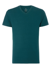 Online Exclusive Green Basic V-neck T-shirt