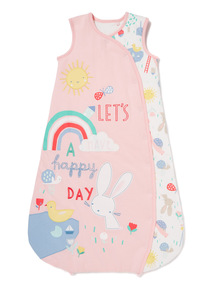 Pink 'Let's Have A Happy Day' Print 2.5 Tog Sleep Bag (0-24 months)
