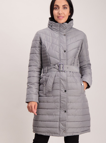 Grey Padded Longline coat