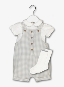 Cream Gingham Check 3 Piece Body Set (Newborn - 12 Months)