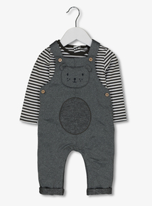 Charcoal Bear Face Dungarees (0-24 Months)