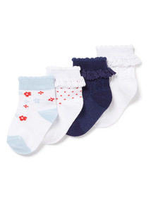 4 Pack Multicoloured Blossom Socks (0-24 months)