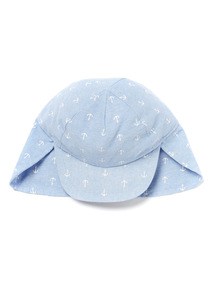 Blue Anchor Print Keppi Sun Hat (0-24 months)