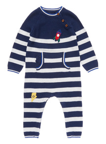 Grey Cat Knitted Rompersuit (0-24 Months)