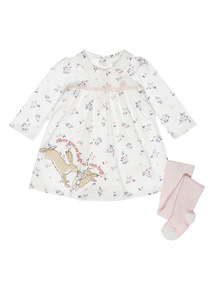 Girls Cream Guess How Much I Love You Jersey Dress & Tights (0-24 months)