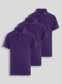 Purple Cotton Rich Polo Shirts 3 Pack (2-12 Years)