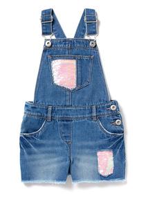 Denim Sequin Dungaree Shorts (3-14 years)