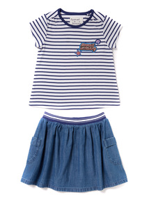 Multicoloured Tee And Skirt Set (9 months - 6 years)