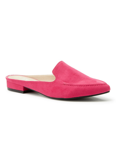 Pink Pointed Slip on Loafer Mules