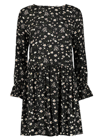 Black Daisy Print Dress