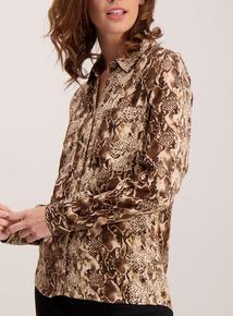 Brown Snakeskin Print Shirt