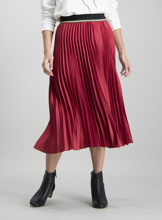 limited sale marketable select for best SKU: PLAIN PLEATED BUBBLE SATIN SKIRT:Berry Red