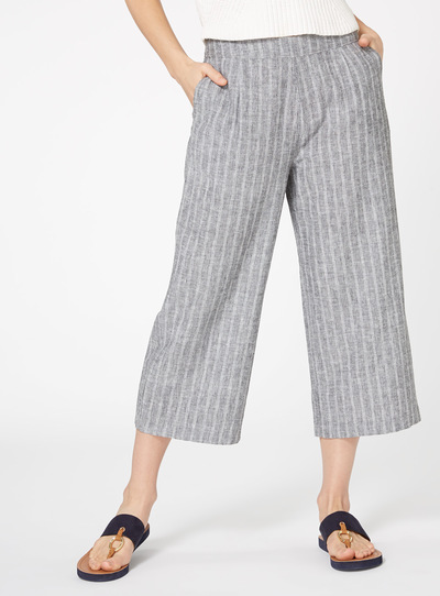 Linen Striped Cropped Trousers
