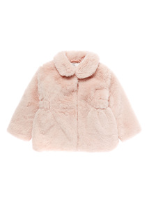 Girls Pink Faux Fur Coat (9 months-5 years)