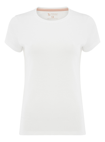 Womens white plain crew neck t shirt tu clothing for Crew neck white t shirt
