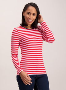Pink Nautical Stripe Long Sleeve Top