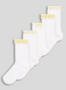 Yellow Gingham Socks 5 Pack