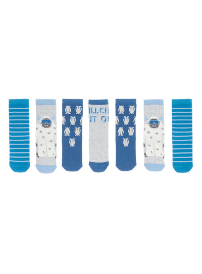 7 Pack Blue Yeti Socks (3-14 years)