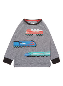 Boys Multicoloured Stripe Applique Train Tee (9 Months-6 Years)
