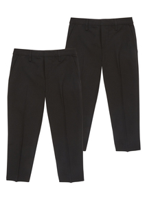 Boys Black Trousers 2 Pack (2-12 years)
