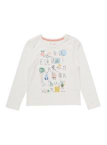 Cream Little Gardener Alphabet Glitter Tee (9 months-6 years)