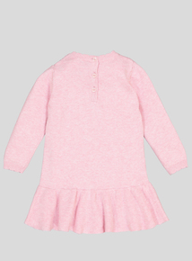 Pink Cable Knitted Dress and Tights (Newborn - 12 months)