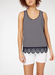 Navy Stripe Crochet Vest