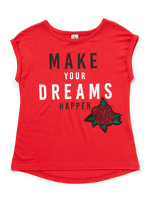 Red Make Your Dreams Happen T-Shirt (3-14 years)