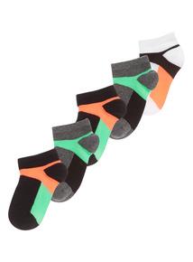 Boys Neon Trainer Socks 5 Pack