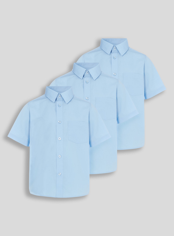 Blue School Short Sleeve Shirts 3 Pack (3-12 years)