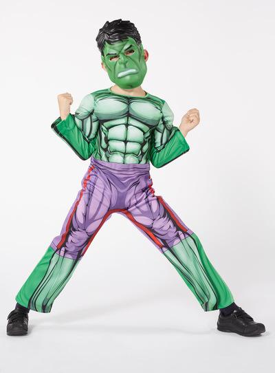 SKU AW17 DISNEY HULK WITH SOUND CHIP AND MASKGreen & Fancy Dress Green Disney Marvel Avengers Hulk Costume (3-10 years ...