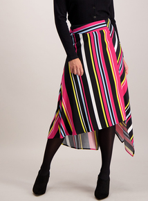 Multicoloured Stripe Asymmetric Skirt