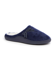 Navy Quilted Mule Slippers