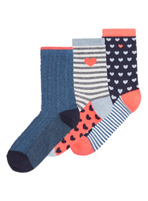Multicoloured Neon Heart Ankle Socks 3 Pack
