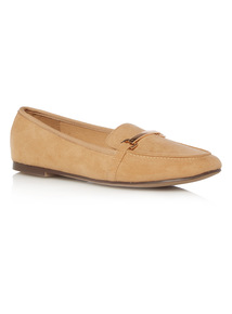 Square Toe Microfibre Loafers
